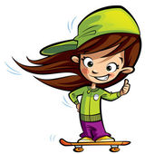 Happy cute girl on a skateboard making a thumbs up gesture — Stock Photo