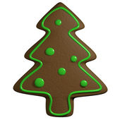Gingerbread 3D cartoon christmas pine tree with ornaments — Stock Photo