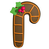 Gingerbread 3D cartoon christmas stick with holly — Stock Photo