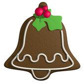 3d мультфильм пряник Рождественский колокольчик с Холли — Стоковое фото