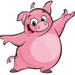 Cartoon happy cute pink pig character presenting — ストック写真