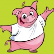 Cartoon happy pink pig character presenting wearing a T-shirt — ストック写真