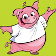 Cartoon happy pink pig character presenting wearing a T-shirt — Stok fotoğraf