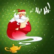 Happy laughing cartoon genie Santa Claus coming out of a magic o — Stock Photo