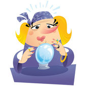 Blonde woman fortuneteller with crystal ball predicting the futu — Stock Vector