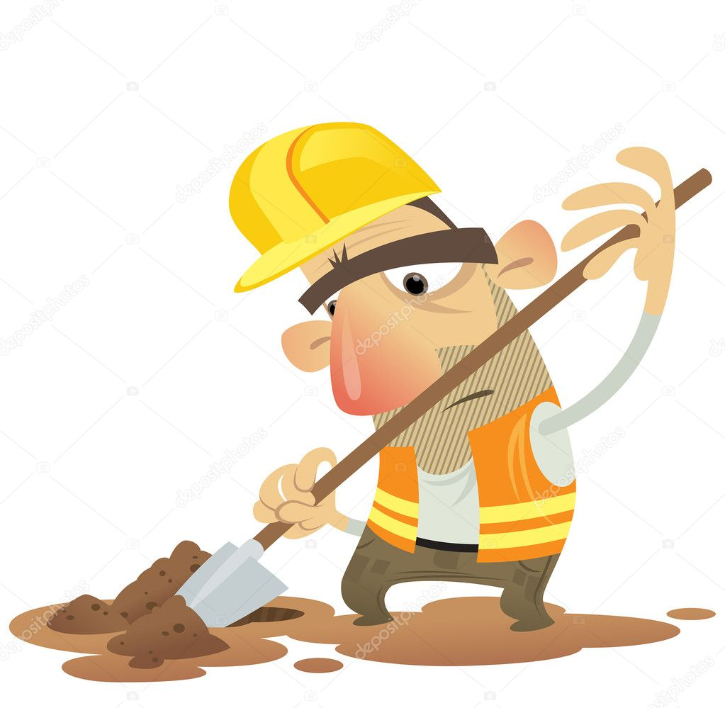 Working digging with a spade wearing helm stock vector 34735763