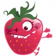 Cartoon pink strawberry fruit character making a crazy face — Stock Vector