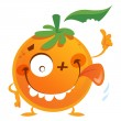 Crazy cartoon orange fruit character making a thumbs up gesture — Stock Vector