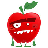 Crazy cartoon red apple fruit character looking at us — Stock Vector