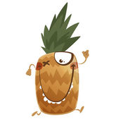 Crazy cartoon brown pineapple fruit character running — Stock Vector
