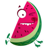 Cartoon pink watermelon fruit character making a crazy face — Stock Vector