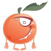 Crazy cartoon pink peach fruit character standing — Stock Vector