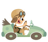 Cartoon kid boy with hat and eyeglasses driving retro car — Stok Vektör