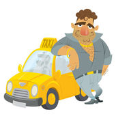 Cartoon Taxi driver funny character with his yellow cab — Stock Vector