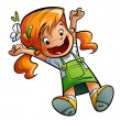 Happy cute cartoon girl jumping happily stretching hands and leg — Lizenzfreies Foto