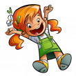 Happy cute cartoon girl jumping happily stretching hands and leg — Stok fotoğraf