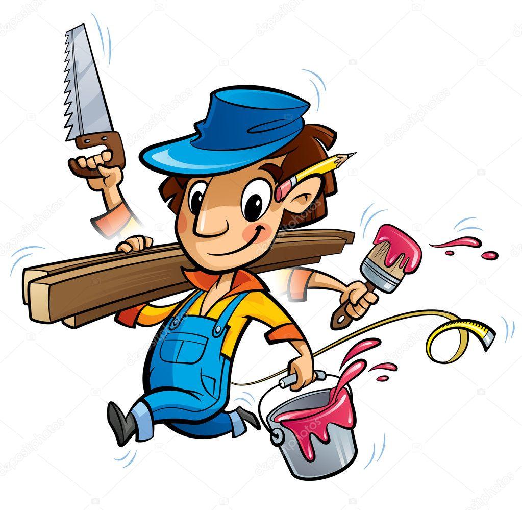 Personaje de carpintero de dibujos animados ocupada ...