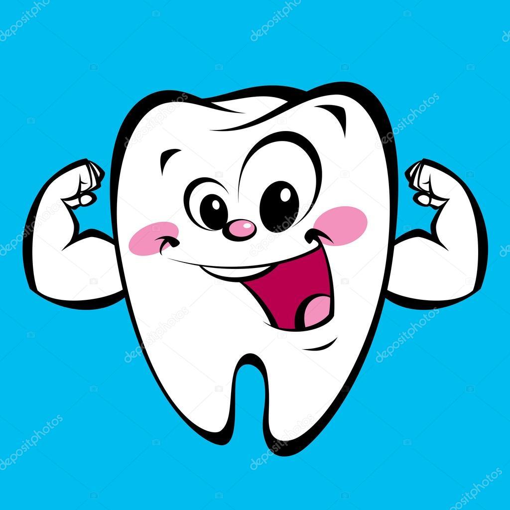 Carácter de fuerte diente feliz dibujos animados lindo