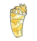 Cartoon shiny banana vanilla milkshake with syrup and cream — Stock Photo