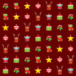 Christmas happy background pattern wrapping paper with cartoon c — Stock Photo