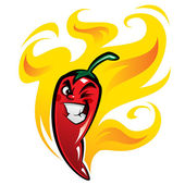 Red devious extremely hot cartoon chili pepper character on fire — Stock Vector