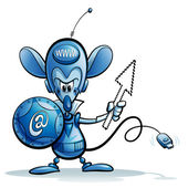 Cartoon character of internet mouse safety guardian icon — Stock Photo
