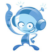 Happy cartoon blue astronaut smiling and making thumb up gesture — Stock Vector
