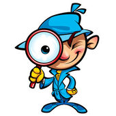 Cartoon cute detective investigate with coat and big eye glass — Stock Vector