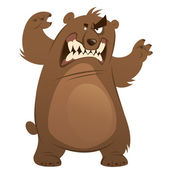 Angry and funny cartoon brown grizzly bear making attacking gest — Stock Vector