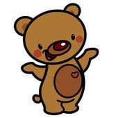 Cartoon vector cute brown happy lovely baby bear with heart — Stock Vector