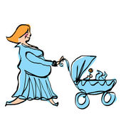 Happy pregnant mother in cyan dress pushing baby boy stroller — Stock Vector