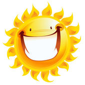 Extremely happy yellow smiling sun cartoon excited character — Stock Vector