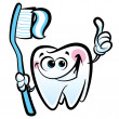 Постер, плакат: Happy cartoon molar tooth character holding dental toothbrush wi