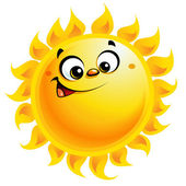Happy cartoon yellow sun character smiling — Vettoriale Stock