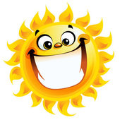 Extremely happy cartoon yellow sun excited character smiling — Stock Vector