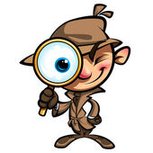 Cartoon cute detective investigate with brown coat and eye glass — Stock Vector