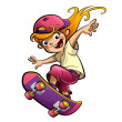 Cartoon happy smiling kid girl with skateboard in sport mood — Stock Photo #49999141