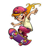 Cartoon happy smiling kid girl with skateboard in sport mood — Stock Photo
