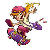 Cartoon happy smiling student girl with skateboard going to scho — Stock Photo