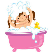 Baby kid girl bathing in bath tub and washing hair — Stock Vector