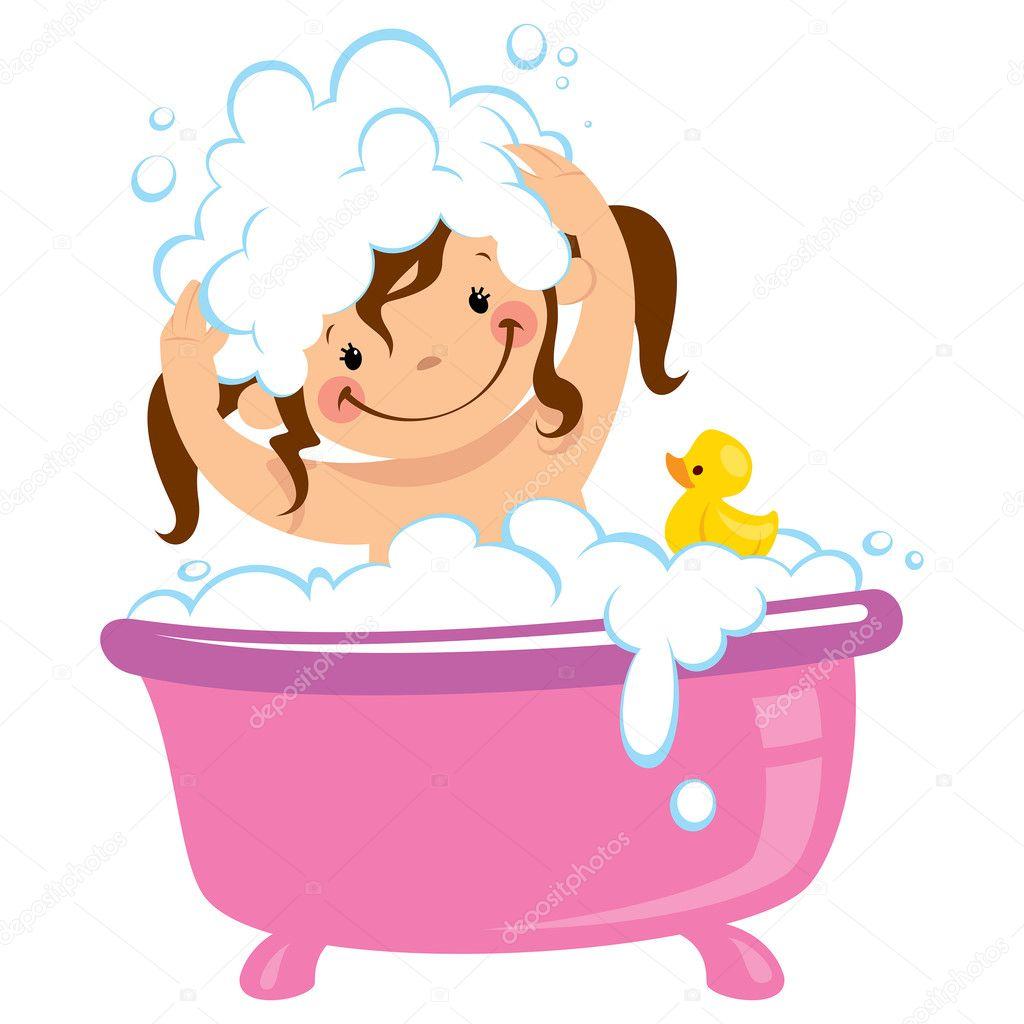 Niña niño bañarse en tina de baño y lavarse el cabello ...