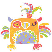 Colorful happy cute little owl design in kids drawing style — Stockvektor