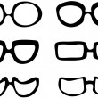 Black and white isolated vector set of 6 pairs of cartoon style hand drawn glasses illustration — Stock Vector #24917135