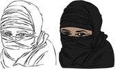 изолированные векторов женских глаз носить платок вуаль — Cтоковый вектор