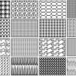 16 Isolated Black and White Vector Patterned Backgrounds Set — Stock Vector