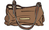 Vector Illustration of Brown Leather Handbag — Stock Vector