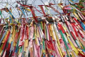 Millions of prayer ribbons in DMZ, Korea — Stock Photo