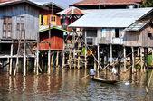 Houses on Inle lake, Myanmar Burma — Stock Photo