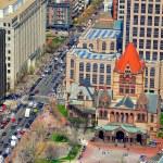 Trinity Church with Boston traffic — Stock Photo