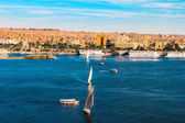 Sailboats sliding on Nile river, Egypt — Stock Photo